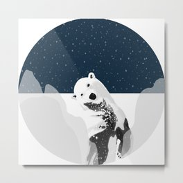 Unique Polar Bear Scene Metal Print