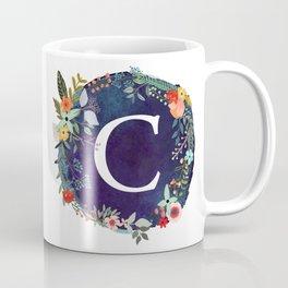 Personalized Monogram Initial Letter C Floral Wreath Artwork Coffee Mug