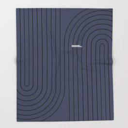 Minimal Line Curvature - Deep Blue & Black Throw Blanket