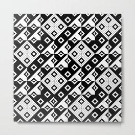 Diagonal squares in black and white Metal Print
