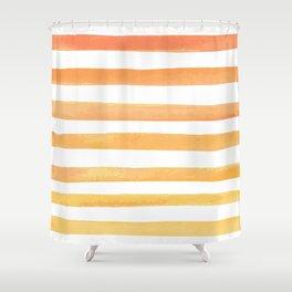 orange watercolor vector stripes Shower Curtain