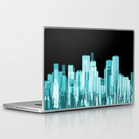 hologram Laptop & iPad Skins featuring Hologram city panorama by GrandeDuc