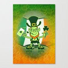 Green Leprechaun Drinking a Toast Canvas Print