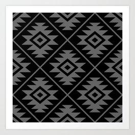 Aztec Symbol Pattern Gray on Black Art Print