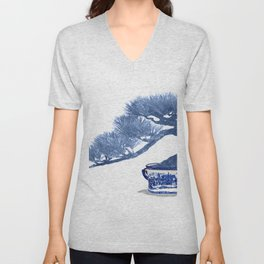 Bonsai tree, blue painting Unisex V-Neck