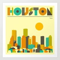 houston Art Prints featuring HOUSTON SKYLINE by Jazzberry Blue