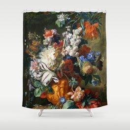 """Jan van Huysum """"Bouquet of Flowers in an Urn"""" Shower Curtain"""
