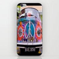 volkswagen iPhone & iPod Skins featuring Hippie Volkswagen by Sberla