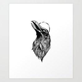 Raven - drawing, symbol, mysticism Art Print