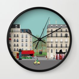 Paris Street Scene Art Print - Daytime Wall Clock