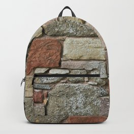 Stone Wall Fieldstones in Grey, Gold and Red Flagstone Backpack