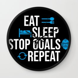 Eat Sleep Stop Goals Repeat Coach Team Wall Clock