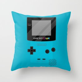 Gameboy Color - Teal Throw Pillow