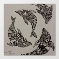 dolphins Canvas Prints featuring Dolphins by Mindy Robinson