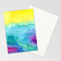 Modern neon yellow blue hand painted watercolor Stationery Cards