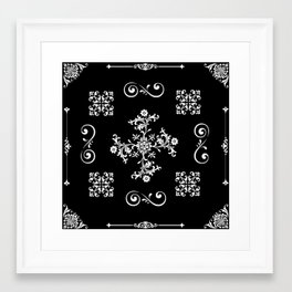 French floral in Monochrome Framed Art Print