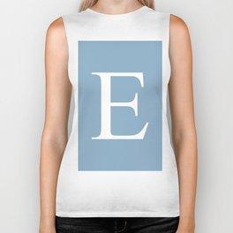 Letter E sign on placid blue color background Biker Tank