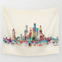 singapore Wall Tapestries featuring Singapore city skyline by bri.buckley