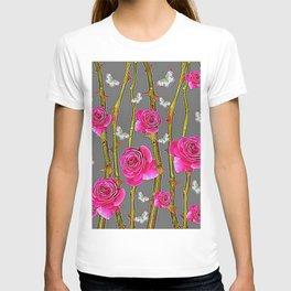 WHITE BUTTERFLIES & PINK ROSE THORN CANES  GREY ART T-shirt