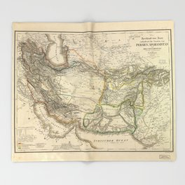 Map of Persia circa 1847 (Afghanistan, Pakistan, Iran) Throw Blanket