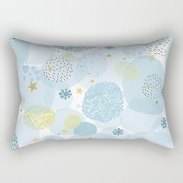 Blue baby shower greeting card with square, stars, hearts Rectangular Pillow