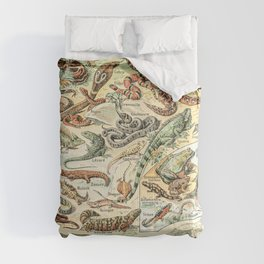 Reptiles II by Adolphe Millot // XL 19th Century Snakes Lizards Alligators Science Textbook Artwork Comforters