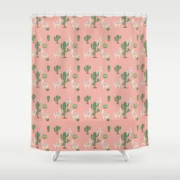 Alpaca with Cacti Shower Curtain