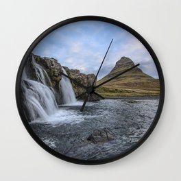 Waterfall Cascade Kirkjufell Mountain Iceland Wall Clock