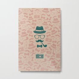 Hipster Symbol Pattern Metal Print
