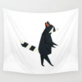 Racсoon Origami Wall Tapestry