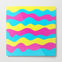 Warm abstract pink and yellow ocean waves decorative cool sunny graphic design Metal Print