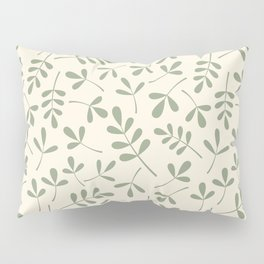 Green on Cream Assorted Leaf Silhouette Pattern Pillow Sham