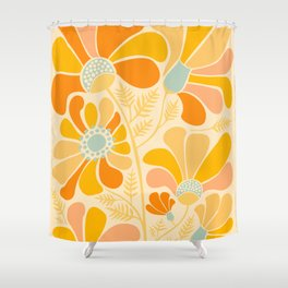 Sunny Flowers / Floral Illustration Shower Curtain
