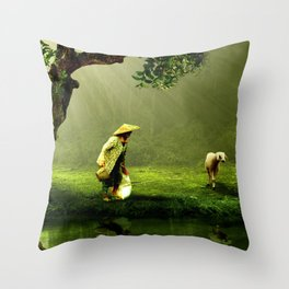 Shepherd Woman Throw Pillow