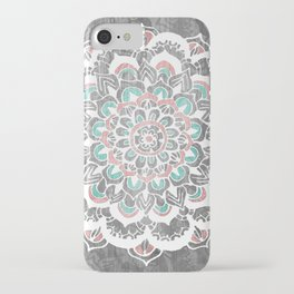 Pastel Floral Medallion on Faded Silver Wood iPhone Case