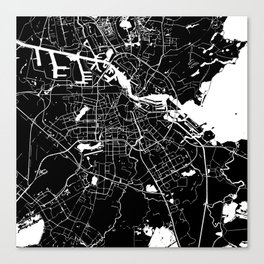 Amsterdam Black on White Street Map Canvas Print