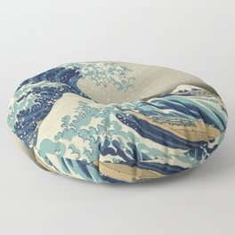 The Classic Japanese Great Wave off Kanagawa Print by Hokusai Floor Pillow
