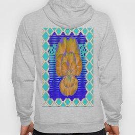 Golden-Lavender Pansy Modern Aqua-Blue Abstract Patterns Hoody