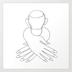 male in female hands Art Print