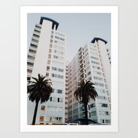 santa monica Art Prints featuring Santa Monica by loope.