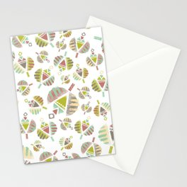 Abstract Retro Flowers Stationery Cards