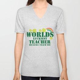 Teacher St Patricks Day Luckiest Teacher Unisex V-Neck
