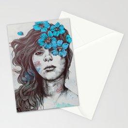 Softly Spoken Agony blue | flower girl pencil portrait Stationery Cards