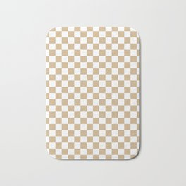 White and Tan Brown Checkerboard Bath Mat
