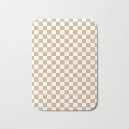 White and Tan Brown Checkerboard Bath Mat