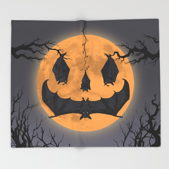 Halloween Moon Throw Blanket