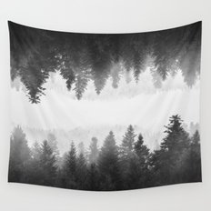Black and white foggy mirrored forest Wall Tapestry