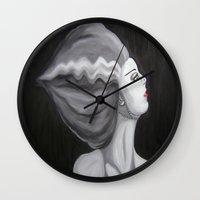 bride Wall Clocks featuring Bride by October James