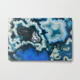 Blue agate abstract Metal Print