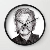kurt rahn Wall Clocks featuring Kurt by Rik Reimert